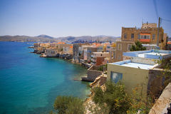 Syros island. Houses along the sea on the island of Syros in Greece Stock Images