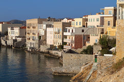 Syros island in Greece. The Venice of Ermoupolis town at Syros island in Greece Royalty Free Stock Images