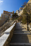 Syros. Main church of Ermoupoli on Syros island in Greece as seen from a walkway to the town beach Stock Photography