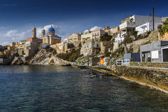 Syros. Town beach in Ermoupoli on Syros island in Greece Stock Images