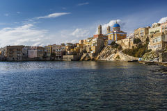 Syros. Town beach in Ermoupoli on Syros island in Greece Royalty Free Stock Photo