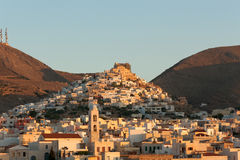 Syros - View of Ermoupoli at sunrise - Cyclades Stock Photos