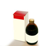 Syrup bottle. And packet on withe background Royalty Free Stock Photography