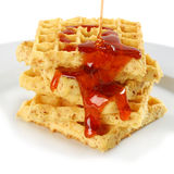 Syrup-Coverd Waffles Stock Photography
