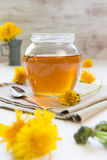 Syrup of Dandelion's flowers Stock Photos
