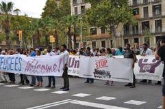 Syryjski uchodźcy kryzys - uchodźca demonstracja w Barcelona, Hiszpania, Wrzesień 12, 2015 Zdjęcie Stock