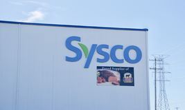 Sysco Food Service. Sysco Corporation is an American multinational corporation involved in marketing and distributing food products to restaurants, healthcare stock image