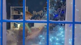 Syskon som dekorerar den prydliga julgranen stock video