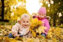 Syskonet som har gyckel i hösten, parkerar royaltyfri bild