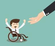 Sysselsättningstillfälle för handikappade personer - affärsman i wheelch Arkivbild