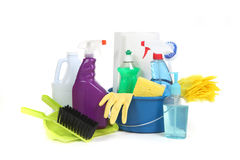 sysslor som gör ren använda hushållobjekt Arkivfoton