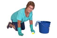 sysslor som gör ren den höga fjäderkvinnan för hushåll Royaltyfri Bild