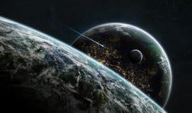 Système éloigné de planète dans l'espace avec l'elem de rendu des exoplanets 3D illustration de vecteur