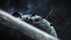 Système éloigné de planète dans le rendu de l'espace 3D illustration libre de droits
