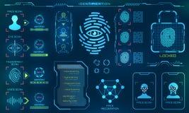 Système biométrique d'identification ou de reconnaissance de la personne, ligne icônes de signe de vérification d'identité illustration stock