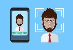 Système biométrique de balayage de visage futé d'utilisateur de balayage de téléphone de protection de contrôle, concept facial d illustration de vecteur