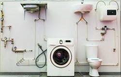 Système d'approvisionnement en eau de salle de bains, tuyaux, valves images libres de droits