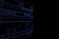 système 3D DE HAUTE FIDÉLITÉ dans le style d'hologramme de Wireframe Rendu 3D gentil Images libres de droits