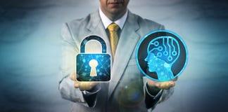 Système d'Equating AI de directeur des technologies de l'information avec la confidentialité des données photographie stock libre de droits