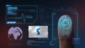 Système d'identification de balayage biométrique d'empreinte digitale Drapeau d'unification de nationalité de la Corée image libre de droits