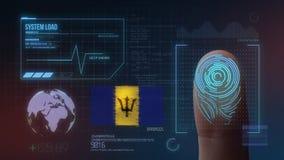 Système d'identification de balayage biométrique d'empreinte digitale Nationalité des Barbade images stock