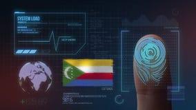 Système d'identification de balayage biométrique d'empreinte digitale Nationalité des Comores illustration de vecteur