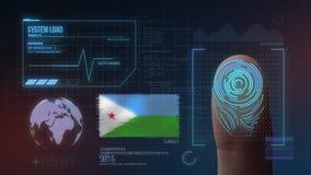 Système d'identification de balayage biométrique d'empreinte digitale Nationalité de Djibouti illustration de vecteur