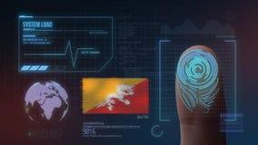 Système d'identification de balayage biométrique d'empreinte digitale Nationalité du Bhutan illustration stock