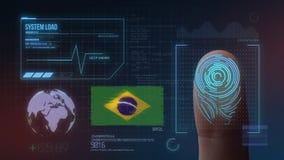Système d'identification de balayage biométrique d'empreinte digitale Nationalité du Brésil illustration stock