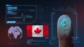 Système d'identification de balayage biométrique d'empreinte digitale Nationalité du Canada illustration libre de droits