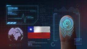 Système d'identification de balayage biométrique d'empreinte digitale Nationalité du Chili illustration libre de droits