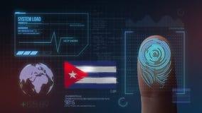 Système d'identification de balayage biométrique d'empreinte digitale Nationalité du Cuba illustration stock