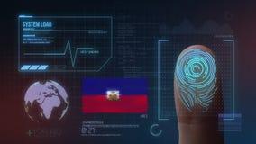 Système d'identification de balayage biométrique d'empreinte digitale Nationalité du Haïti illustration de vecteur