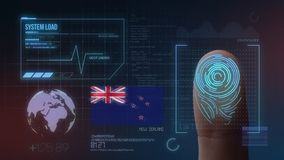 Système d'identification de balayage biométrique d'empreinte digitale Nationalité du Nouvelle-Zélande images libres de droits