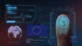 Système d'identification de balayage biométrique d'empreinte digitale Nationalité européenne illustration stock