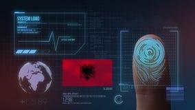 Système d'identification de balayage biométrique d'empreinte digitale Nationalité de l'Albanie illustration stock