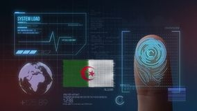 Système d'identification de balayage biométrique d'empreinte digitale Nationalité de l'Algérie illustration de vecteur