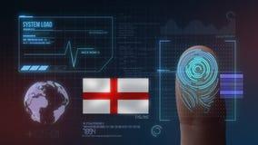 Système d'identification de balayage biométrique d'empreinte digitale Nationalité de l'Angleterre illustration stock