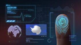 Système d'identification de balayage biométrique d'empreinte digitale Nationalité de l'Antarctique illustration stock