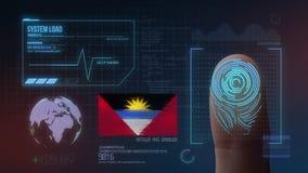 Système d'identification de balayage biométrique d'empreinte digitale Nationalité de l'Antigua-et-Barbuda photo libre de droits