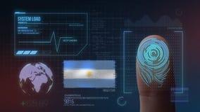 Système d'identification de balayage biométrique d'empreinte digitale Nationalité de l'Argentine illustration de vecteur