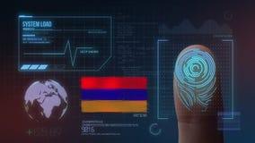 Système d'identification de balayage biométrique d'empreinte digitale Nationalité de l'Arménie illustration de vecteur