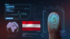 Système d'identification de balayage biométrique d'empreinte digitale Nationalité de l'Autriche illustration libre de droits