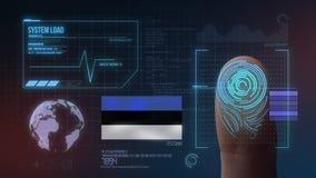 Système d'identification de balayage biométrique d'empreinte digitale Nationalité de l'Estonie illustration libre de droits