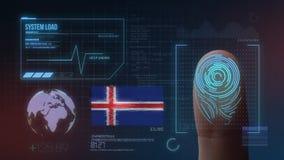 Système d'identification de balayage biométrique d'empreinte digitale Nationalité de l'Islande illustration stock