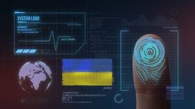 Système d'identification de balayage biométrique d'empreinte digitale Nationalité de l'Ukraine images libres de droits