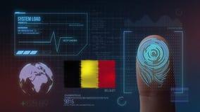 Système d'identification de balayage biométrique d'empreinte digitale Nationalité de la Belgique illustration libre de droits