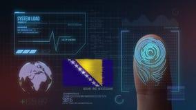Système d'identification de balayage biométrique d'empreinte digitale Nationalité de la Bosnie-Herzégovine image stock