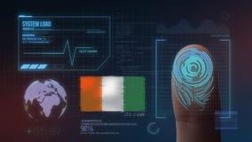 Système d'identification de balayage biométrique d'empreinte digitale Nationalité de la Côte d'Ivoire illustration de vecteur