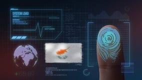 Système d'identification de balayage biométrique d'empreinte digitale Nationalité de la Chypre photo libre de droits